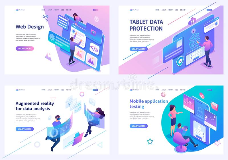Set isometric landing pages, on the topic of web design, information security, mobile application testing, alternative royalty free illustration