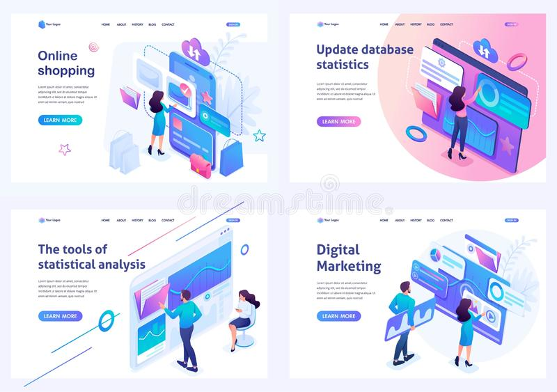 Set isometric landing pages, on the topics of online shopping, statistical analysis, digital marketing. For website and royalty free illustration