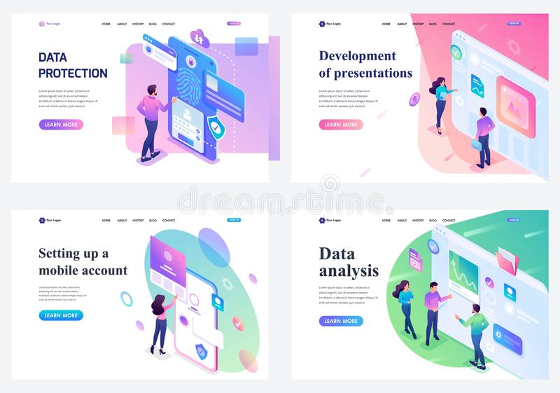 Set of isometric landing pages, young teenagers working on a tablet and on a mobile phone screen. concepts for website royalty free illustration
