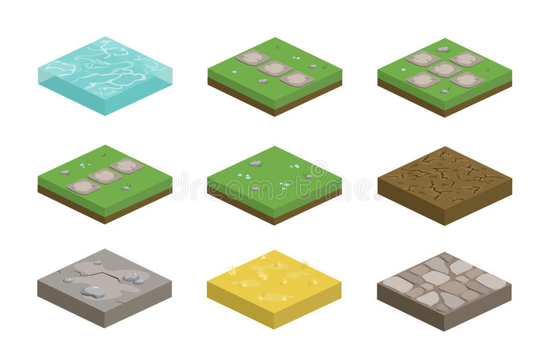 Set of isometric landscape design tiles with different surfaces royalty free illustration