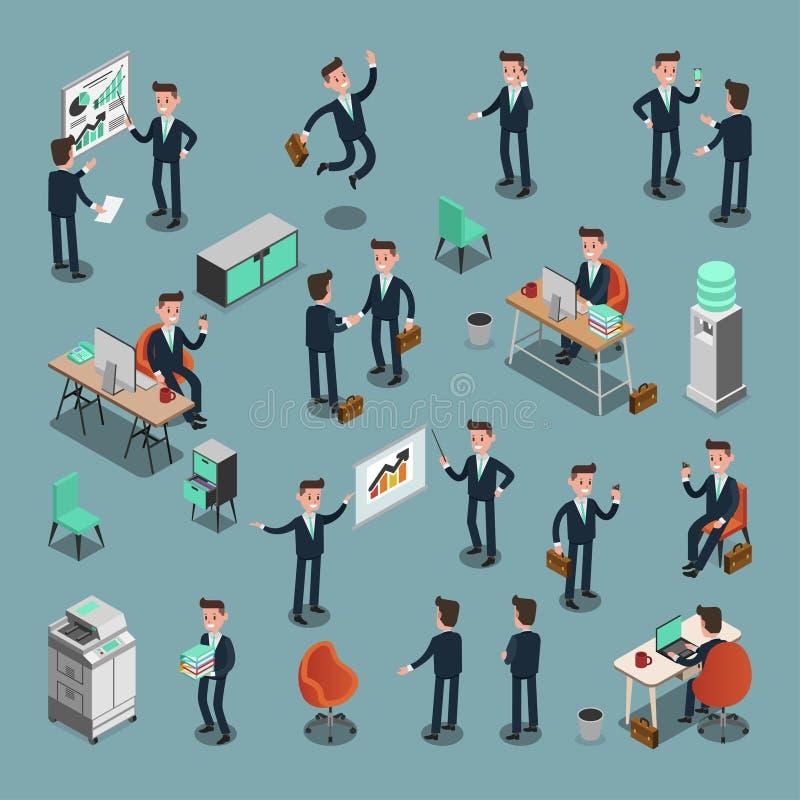 Set ISOMETRIC ludzie biznesu w biurze, dzieli pomysł, ewidencyjna grafika royalty ilustracja