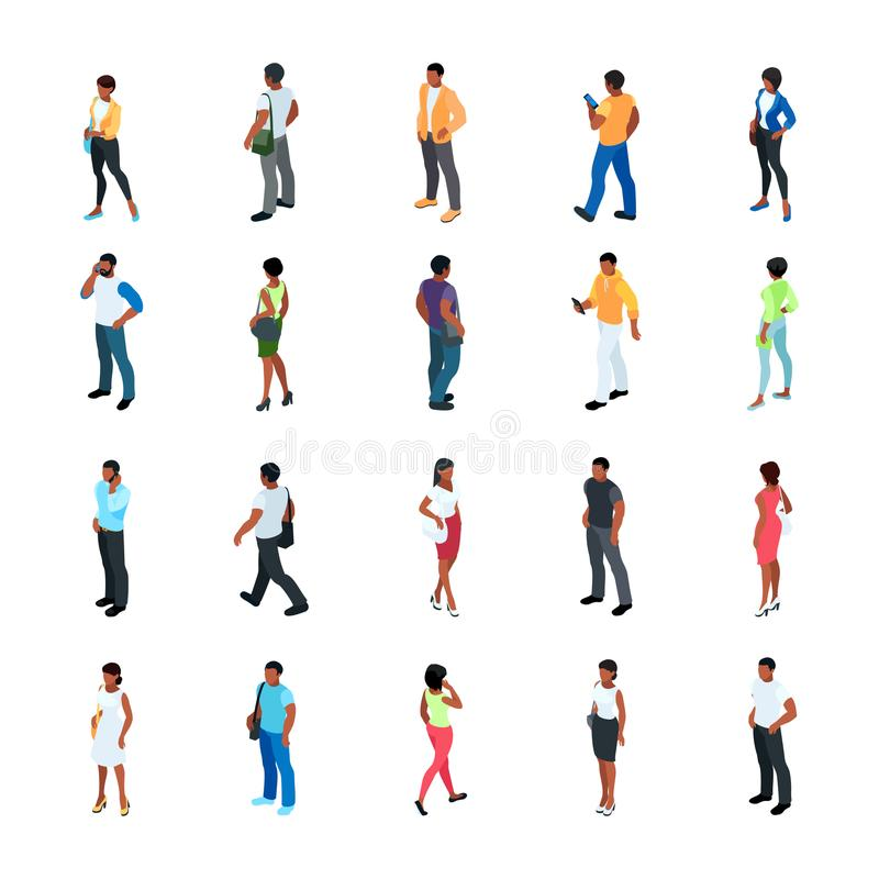 Set isometric ludzie z różnym kolorem skóry ilustracji