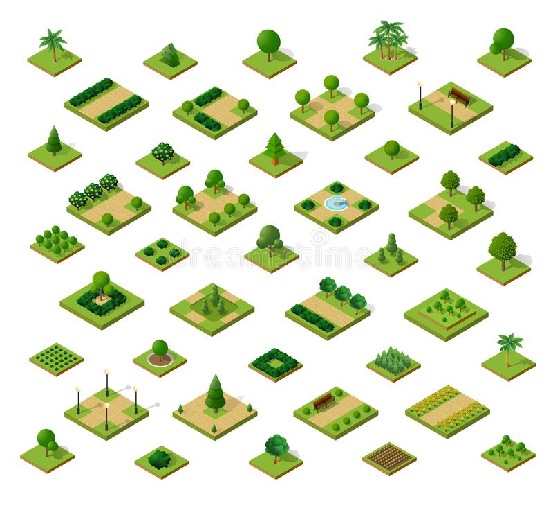 Set isometric miastowi parki ilustracji