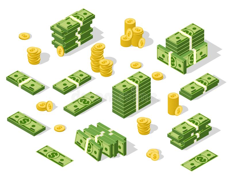 Set of isometric money isolated on white background. royalty free illustration