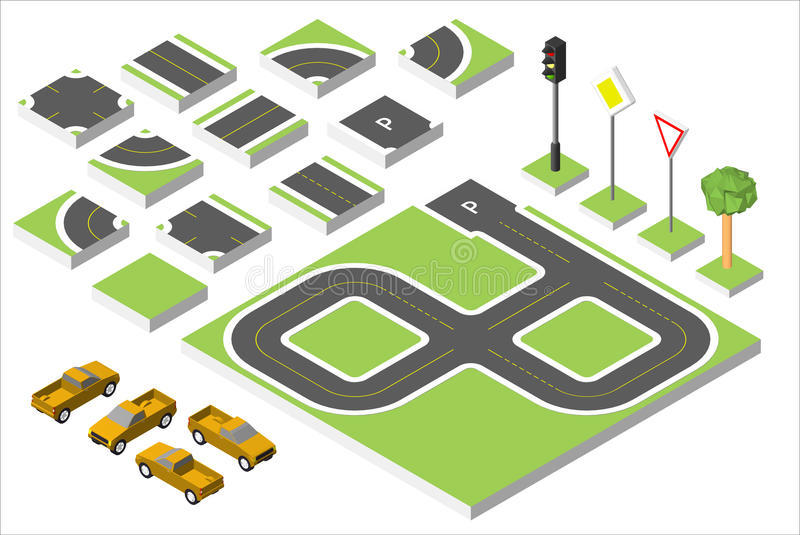 Set Isometric road and Vector Cars, Common road traffic regulatory. Vector illustration eps 10 isolated on white vector illustration