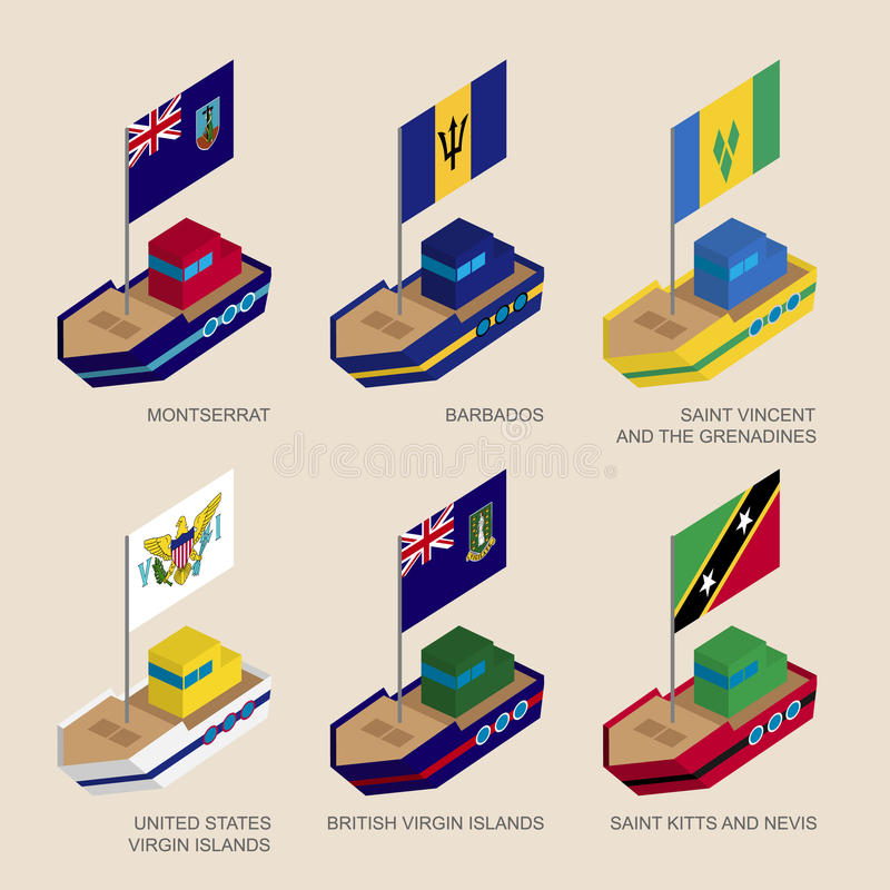 Set of isometric ships with flags of Caribbean countries. Set of isometric 3d ships with flags of Caribbean countries. Vessels with standards - Montserrat royalty free illustration