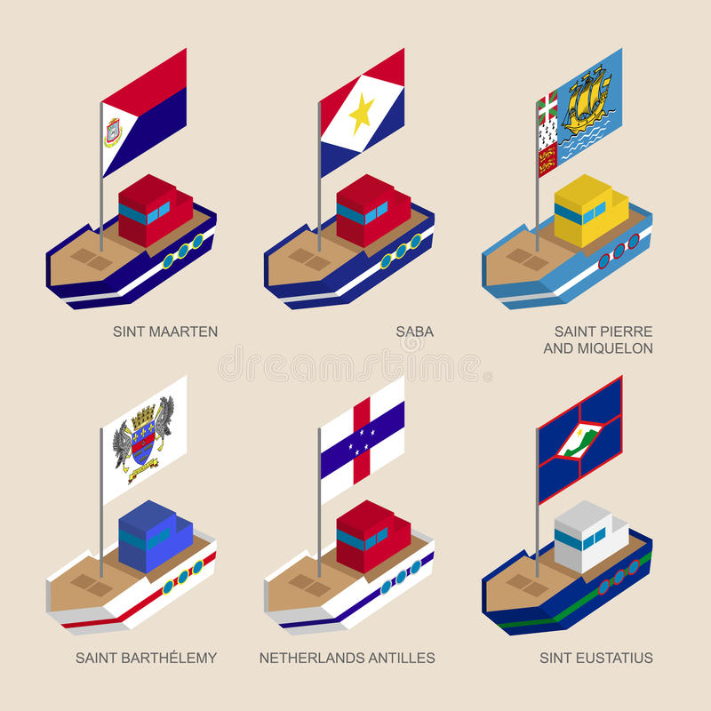 Set of isometric ships with flags of Caribbean countries. Set of isometric 3d ships with flags of Caribbean countries. Vessels with standards - Sint Maarten stock illustration