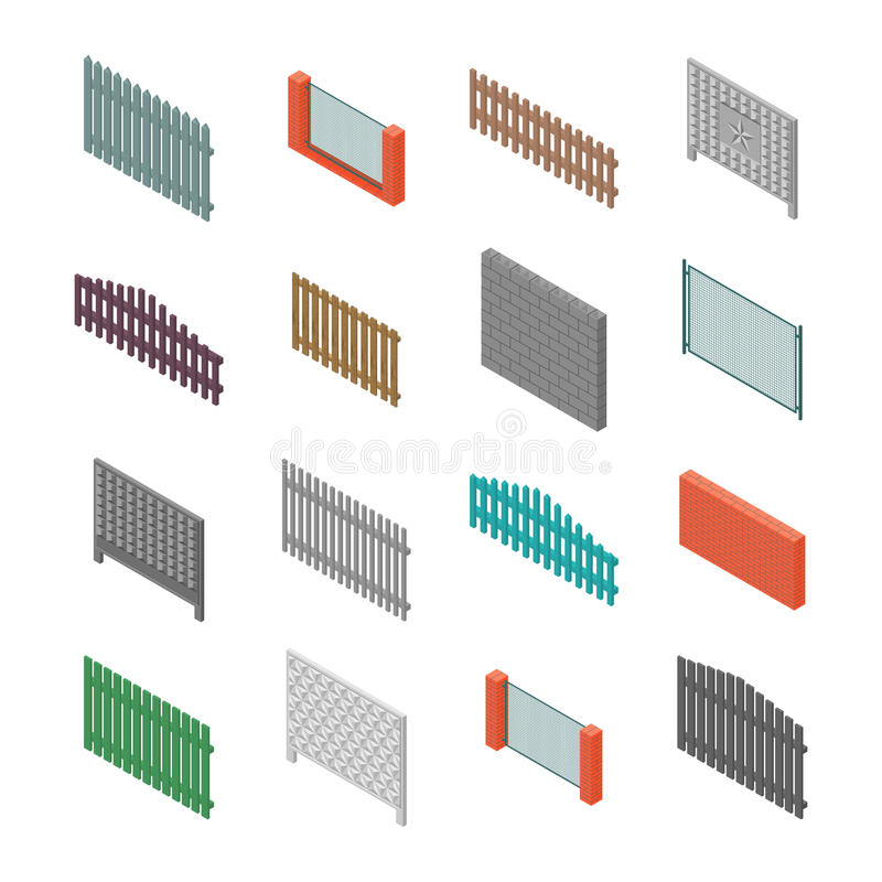 A set of isometric spans fences, vector illustration. royalty free illustration