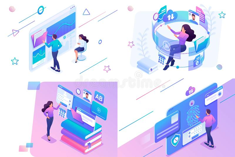 Set isometric on the topic of online training, information security, data Analytics. For website and mobile website development stock illustration