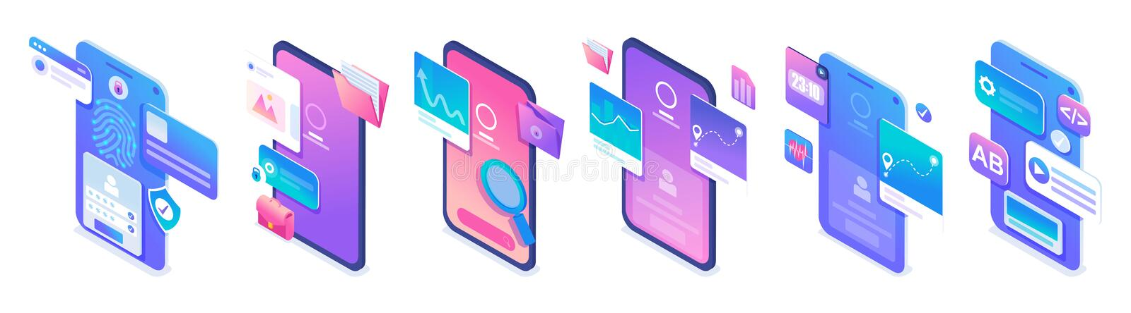 Set isometric types of applications for mobile phones, the use of icons. For website and mobile apps development.  vector illustration