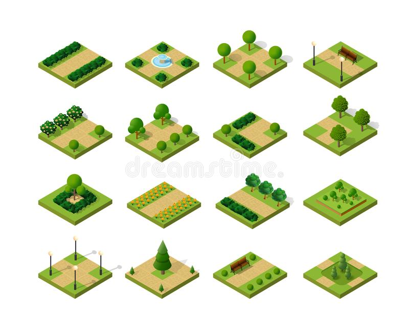 Set of isometric urban parks vector illustration