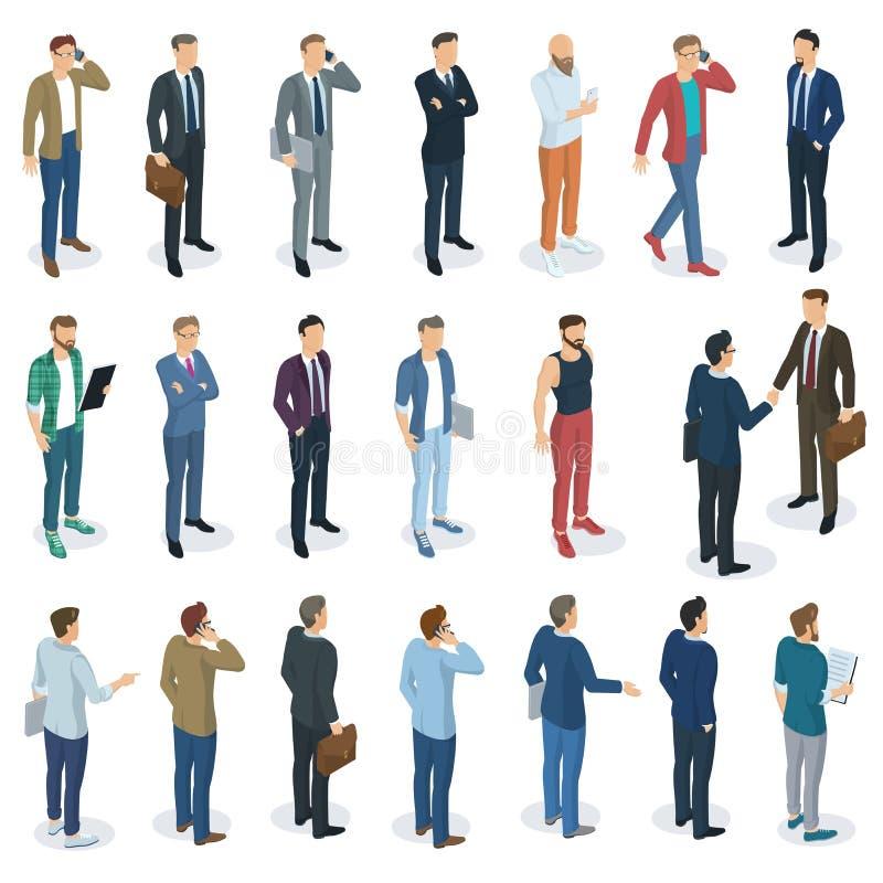 Set of isometric vector standing men vector illustration