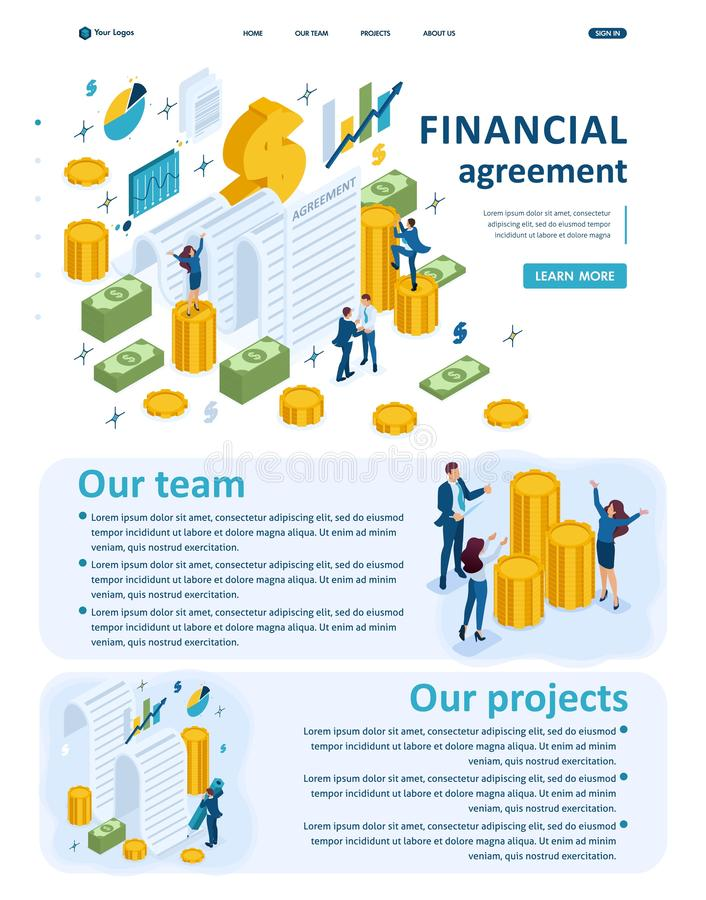 Isometric Partners Conclude an Agreement. Set Isometric Website Template Landing page app concept of creating a financial agreement, partners conclude an royalty free illustration