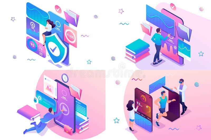 Set isometric workout concept online training, information protection, mobile application testing. For website and mobile. Website development vector illustration