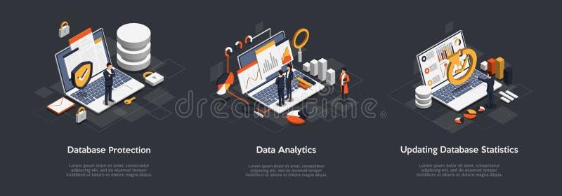 Set isometrico di protezione del database aziendale, analisi dei dati, aggiornamento delle statistiche del database Isomico VIP p illustrazione vettoriale
