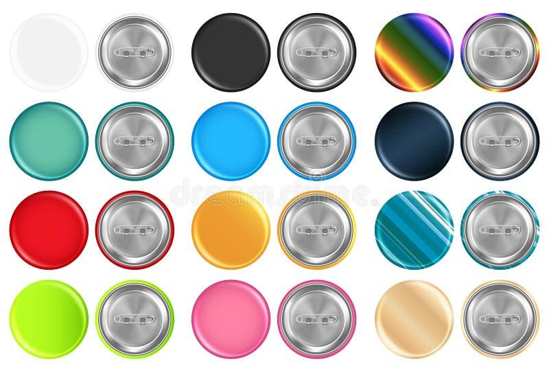 Set istny kolorowy zaokrąglony broszka przodu klingeryt i tylna stal ilustracja wektor