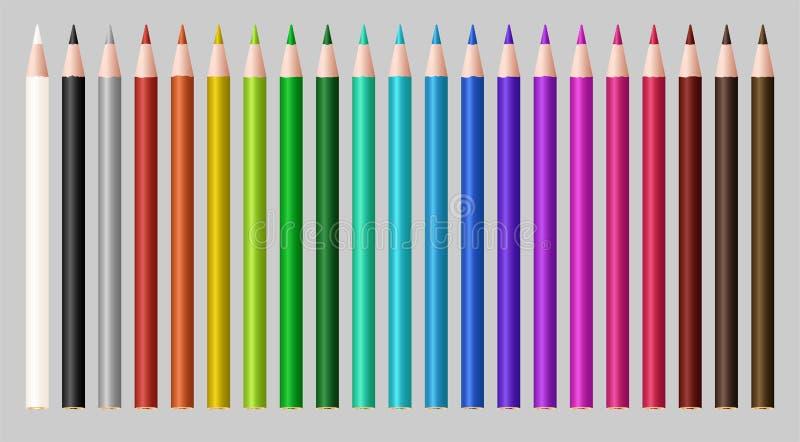 Set istny koloru drewna ołówek ilustracja wektor