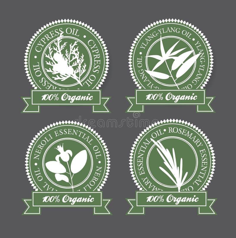 Set istotnych olejów etykietki obrazy stock