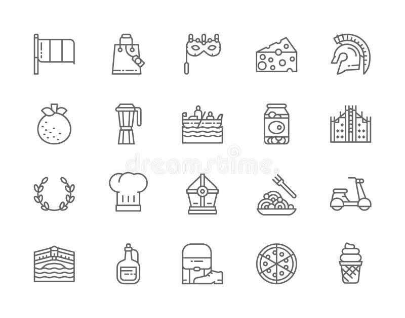 Set of Italian Culture Line Icons. Gladiator Warrior, Mandarin, Gondola and more. Set of Italian Culture Line Icons. Gladiator Warrior, Mandarin, Gondola, Gelato vector illustration