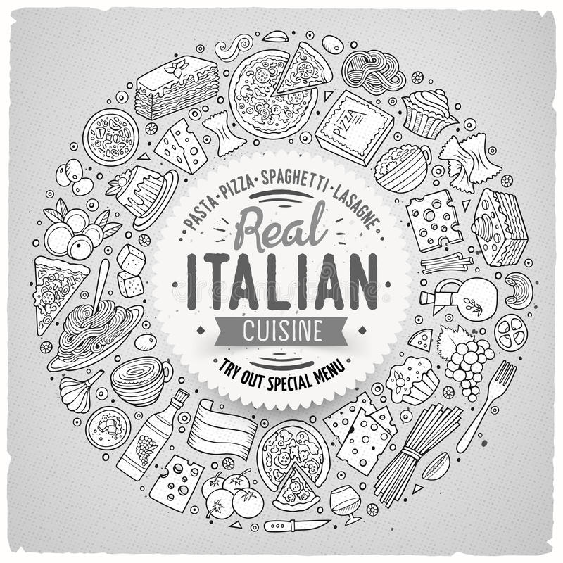 Set of Italian food cartoon doodle objects, symbols and items. Line art vector hand drawn set of Italian food cartoon doodle objects, symbols and items. Round stock illustration