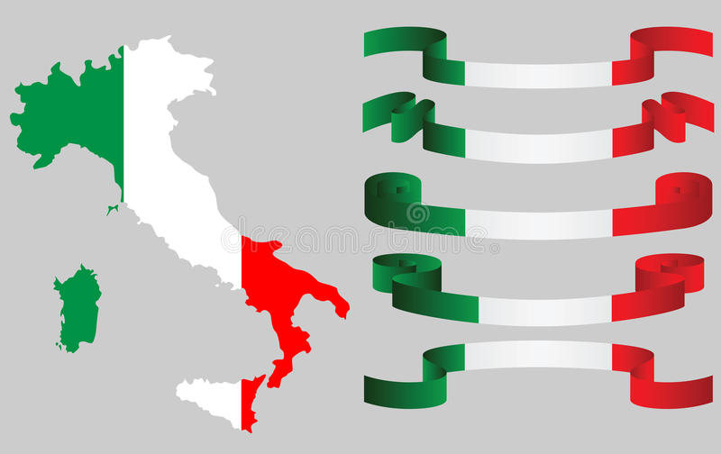 Set of Italian ribbons and Italian map in flag colors stock illustration