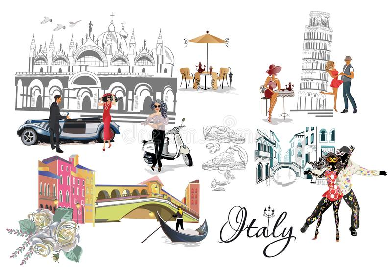 Set of Italian sights: the Rialto bridge, the tower of Pisa, dancing people with carnival masks. stock illustration