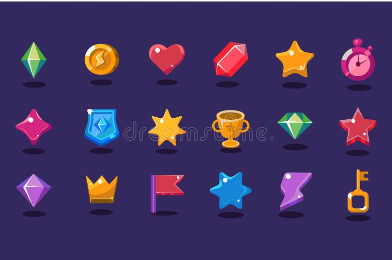Set of items for gaming interface. Crystal, coin, heart, star, stopwatch, shield, trophy, crown, flag, lightning, key stock illustration