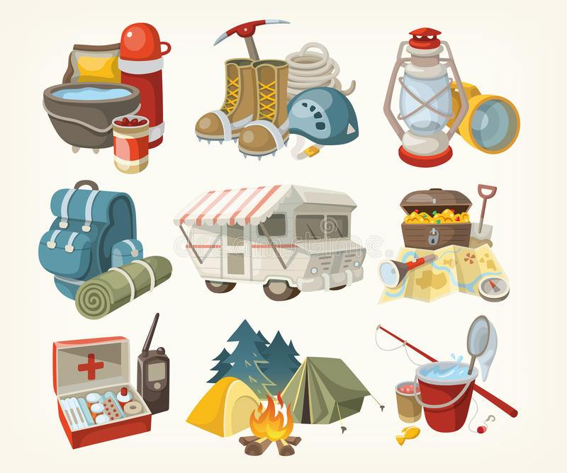 Set of items for hiking. Set of items and devices for hiking. Vector illustrations stock illustration