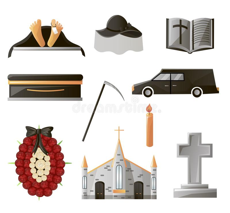 Set of items used at the funeral. Items that are associated with gunpowder. Coffin, flowers, gravestone, pigeon and others vector illustration