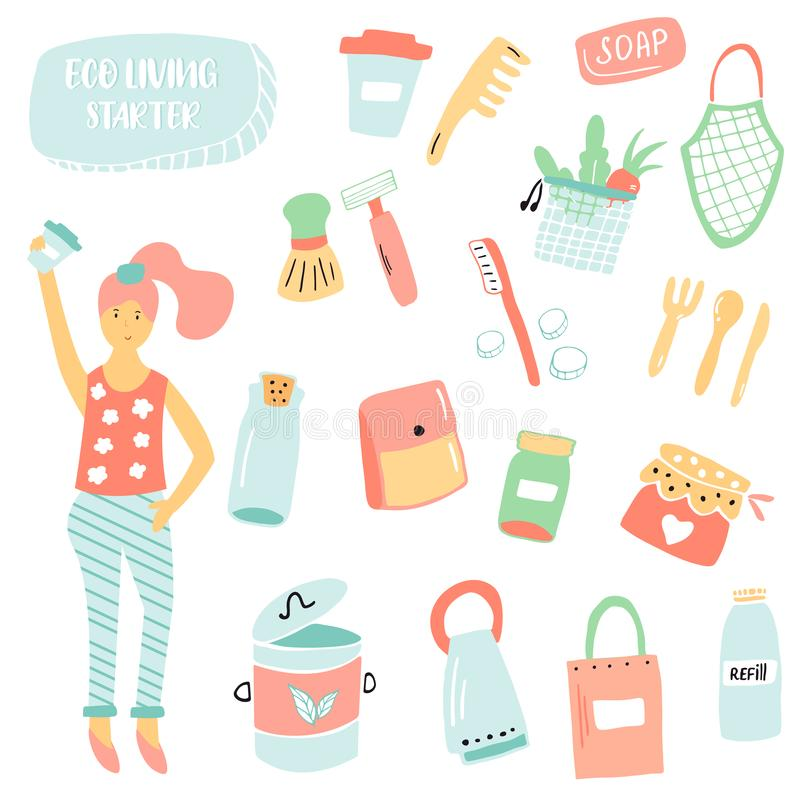 Set of items for zero waste living. Plastic free. No waste concept royalty free illustration