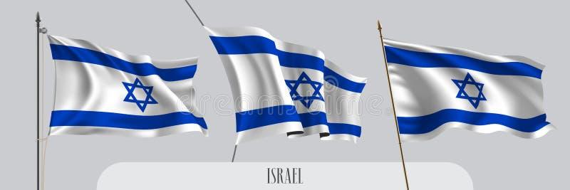Set Izrael falowania flaga na odosobnionej tło wektoru ilustracji ilustracji