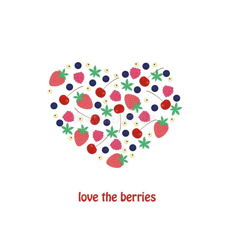 Set jagody w formie serca Wektorowe kreskówek jagody na białym tle Jagody, malinki, winogrona, czarne jagody, ilustracji