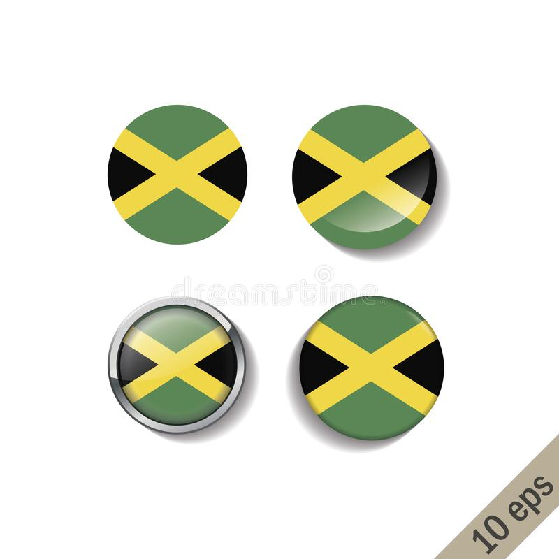 Set of JAMAICA flags round badges. Vector illustration. 10 eps royalty free illustration