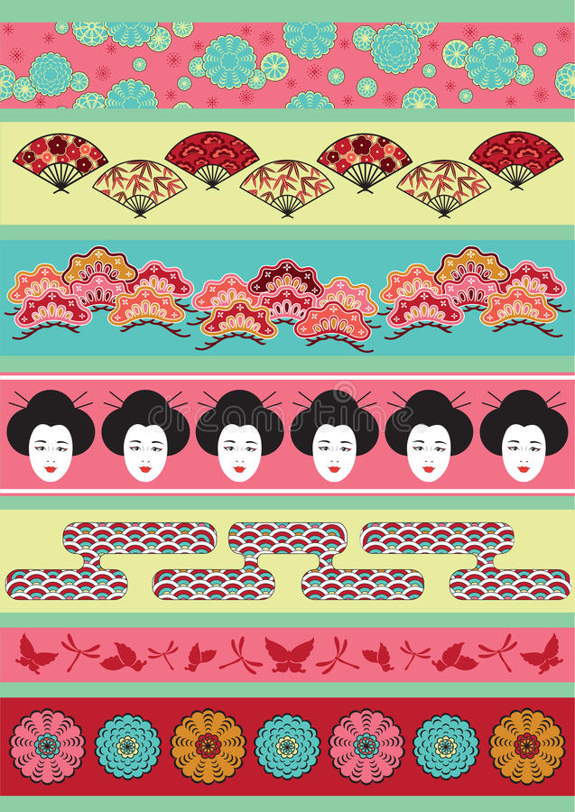 Set of Japan ornaments vector illustration