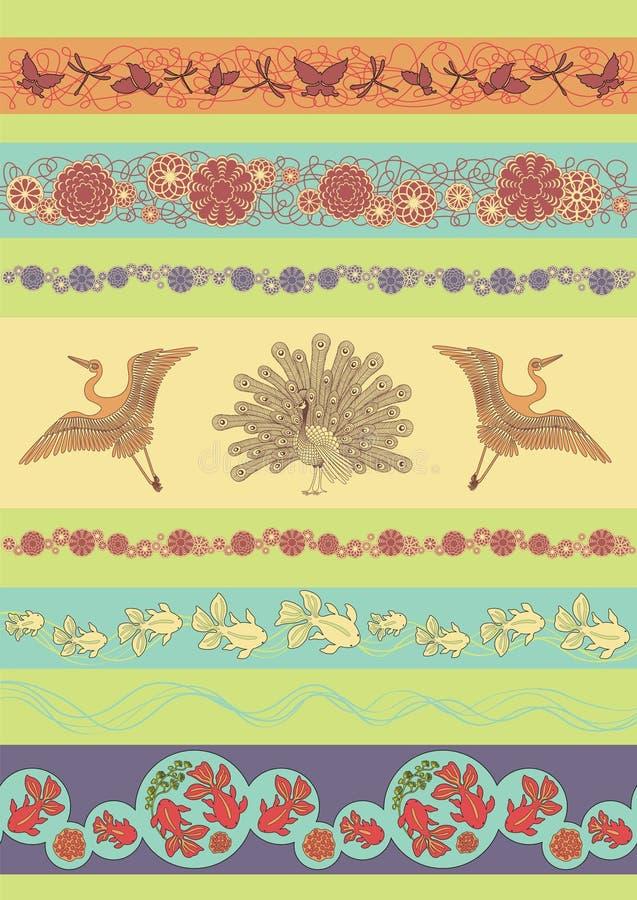 Set of Japan ornaments stock illustration