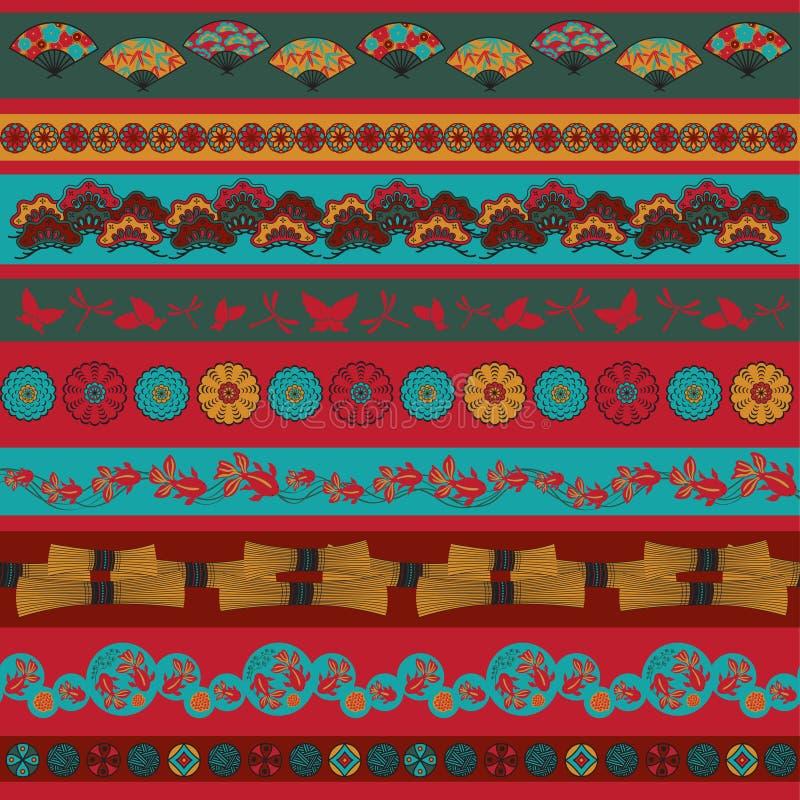 Set of Japan ornaments royalty free illustration