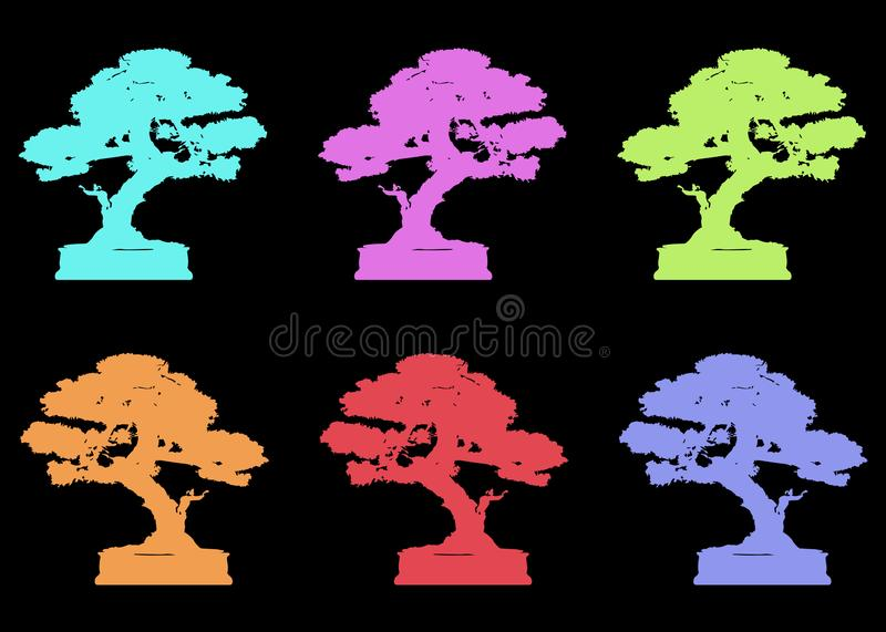 Set Japanese bonsai tree logo, plant silhouette icons on white background, green ecology, colorful silhouette of bonsai. Detailed. Set Japanese bonsai tree logo royalty free illustration