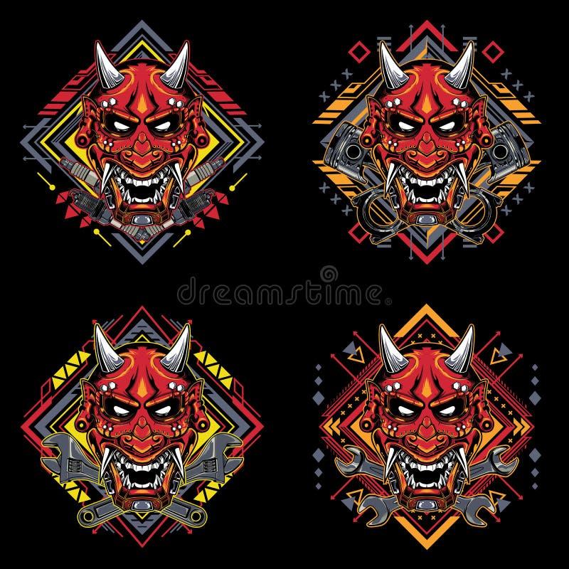 Set Japanese demon mask with tribal sacred geometry tshirt design 向量例证