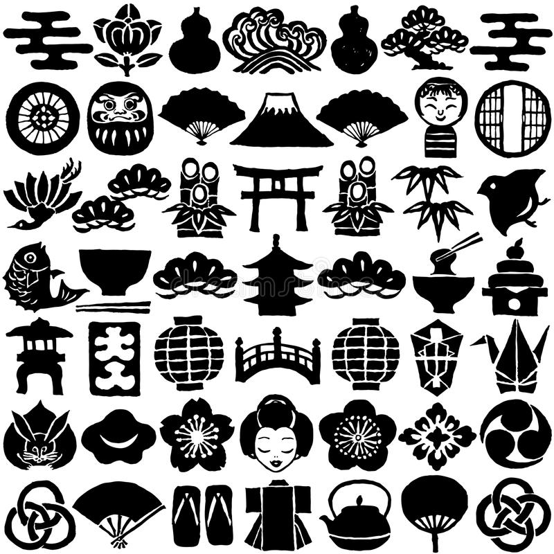 Download Set Of Japanese Design Icons Hand Drawn Illustrations Stock Vector