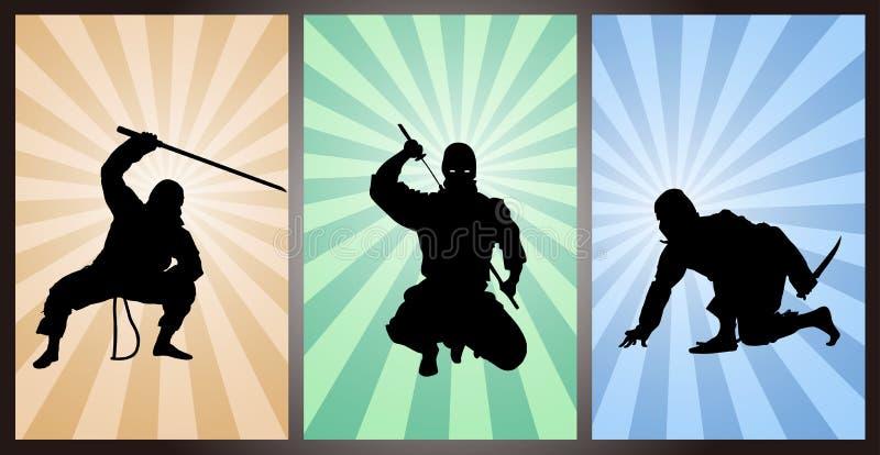 Japanese assassin, Japanese ninja, Asian Fighter. A set of Japanese ninja vector illustration
