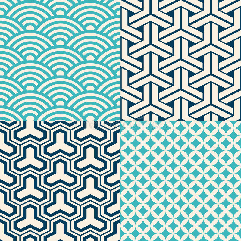 Set of Japanese seamless patterns vector illustration