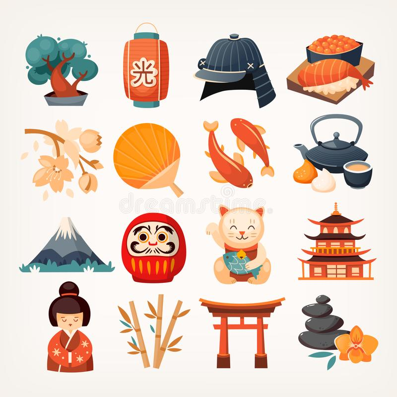 Set of Japanese travel icons. Symbols of the island. Various sights and famous elements from all parts of the island. Isolated vector illustrations royalty free illustration
