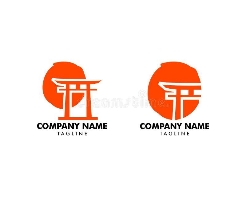 Set Japońska Czerwona Torii brama z słońce logo Wektorowym projektem ilustracji
