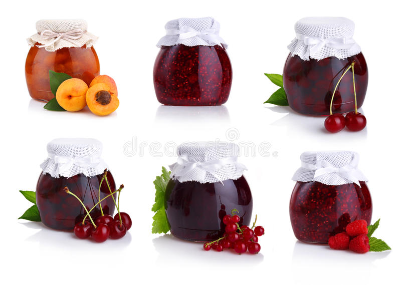Set of jars with berry jam isolated on white. Background stock photos