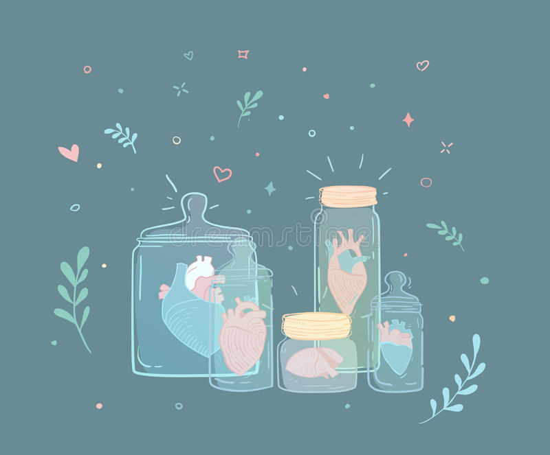 Set of jars with hearts. A set of jars with hearts. Illustration lover and collection of hearts. Left relations royalty free illustration