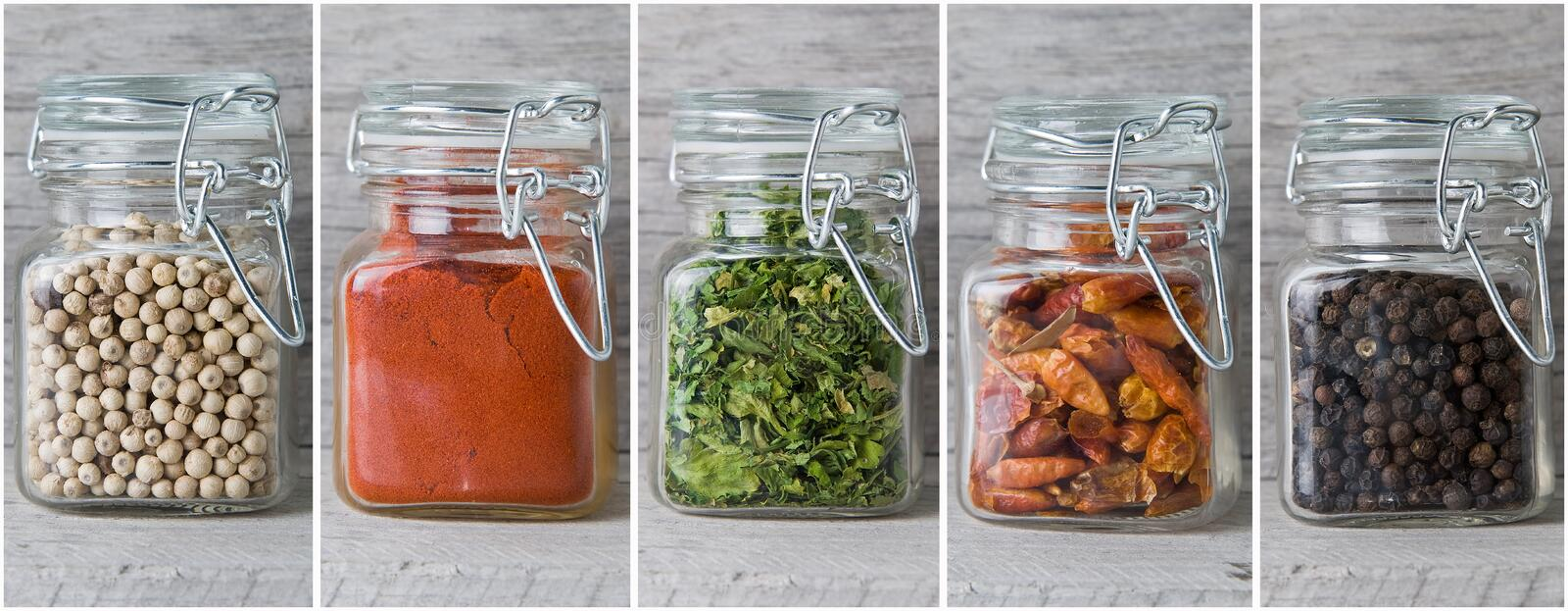 Download A Set Of Jars With Spices. Royalty Free Stock Photography - Image: 19253577