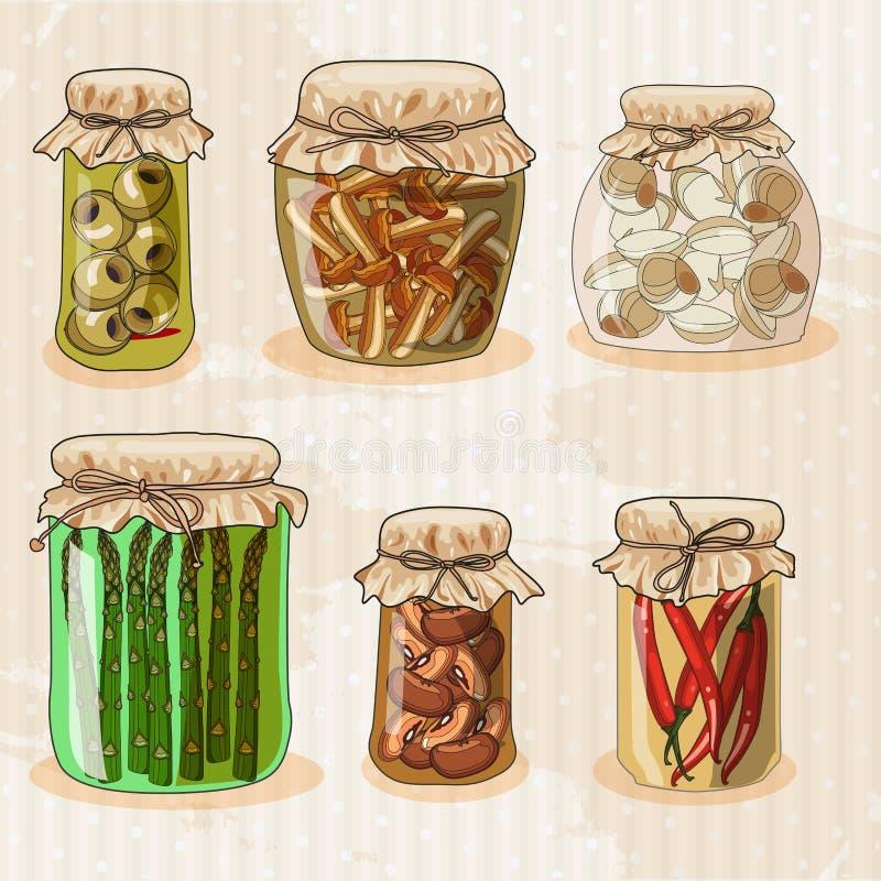 Set of jars with vegetables. vector illustration