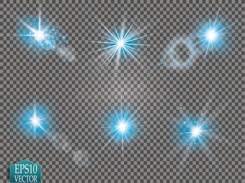 Set jarzeniowi lekkiego skutka gwiazd wybuchy z błyska na przejrzystym tle Dla ilustracyjnej szablon sztuki fotografia stock
