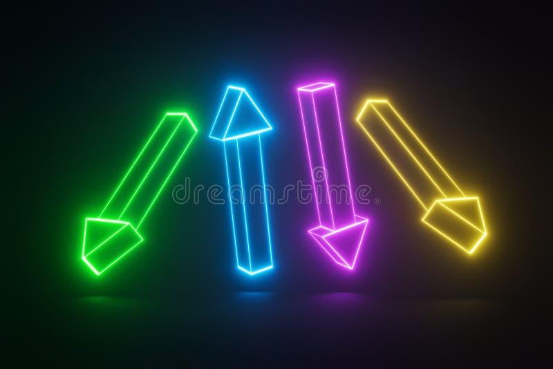 Set jarzyć się neonowe strzały różni kolory na czarnym tle abstrakt?w kszta?ty ?wiadczenia 3 d royalty ilustracja