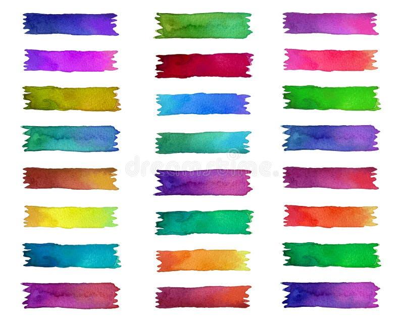Set jaskrawa kolorowa taśma obdziera na białym tle ilustracja wektor